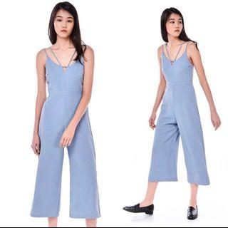 TEM Midi Jumpsuit V-Neck Strap in dusty blue