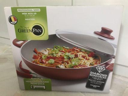 🚚 Green Pan Wok with Lid