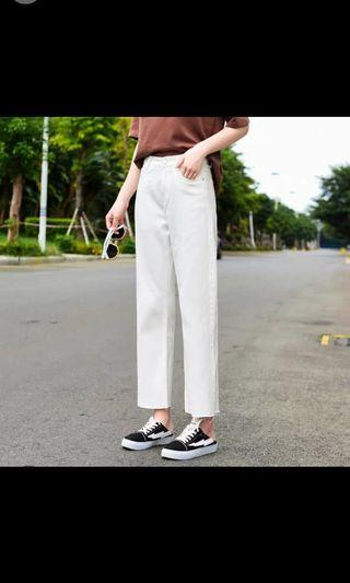 米白 直筒褲