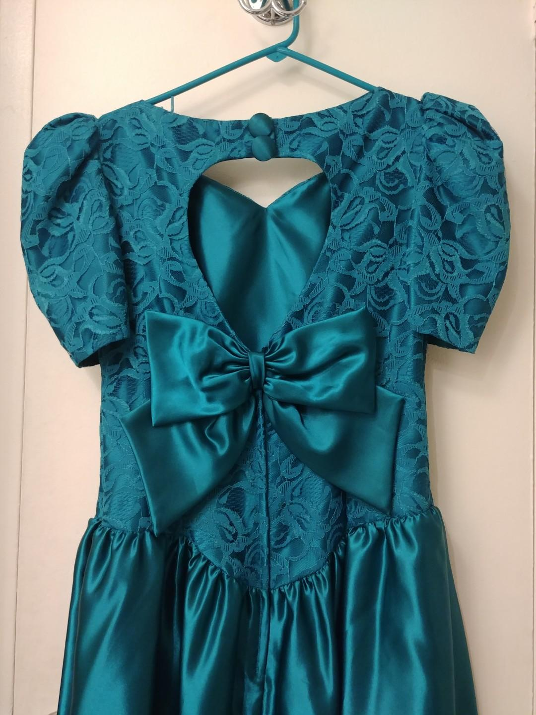 Like New 1980s Alfred Angelo Brides Maid Dress in Teal Green