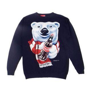 Vintage 1995 Coca-Cola Polar Bear Navy Blue Sweatshirt