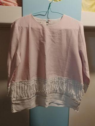 粉紅中袖上衣