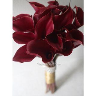 Fresh Burgandy Calla Bridal Bouquet with Diamante (Wedding / ROM/ Bridesmaid / Proposal/ Anniversary /Engagement )
