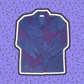 Here - Retro Purple Patterned Long-Sleeved Blouse (M)