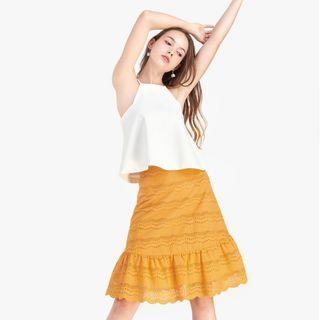 Fayth Nina Eyelet Ruffled Skirt in Mustard S
