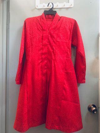 Baju Kurung Kebarung Merah Brocade Glitters Material