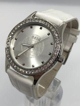 ⌚️NEW - Ladies Crystal Bezel White Leather Strap Watch ⬅️只限順豐,運費到付