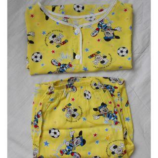 黃色 卡通 家居服 套裝 夏季薄款 睡衣 男女合適 橡筋褲頭