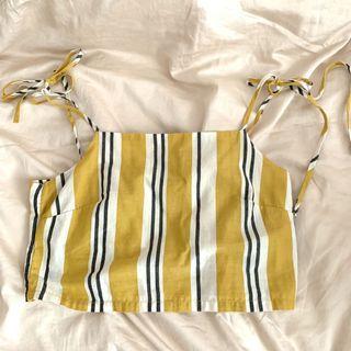 🚚 stradivarius yellow striped tie ribbon crop top