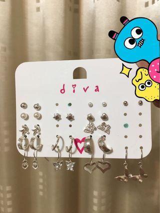 🚚 澳洲品牌diva銀飾耳環15副一組