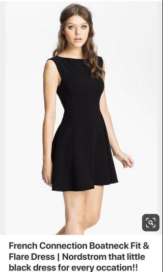 French Connection Black Boat Neck Dress