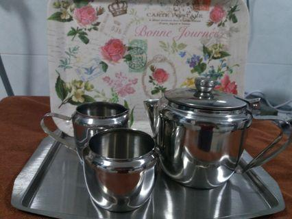 🚚 18-8 stainless steel Coffee/Tea Set with serving tray!