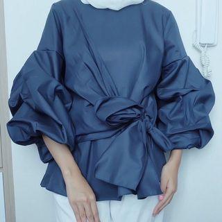 Atasan blouse wanita biru dongker navy