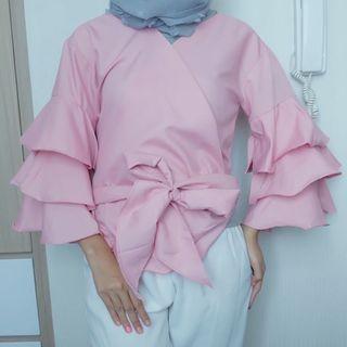 Blouse atasan wanita pink muda