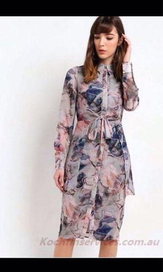 Lost Ink Lyd Landscape Printed Tie Shirt Dress