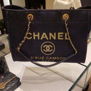 Chanel Tote Bag 深藍拼金線 2019最新款