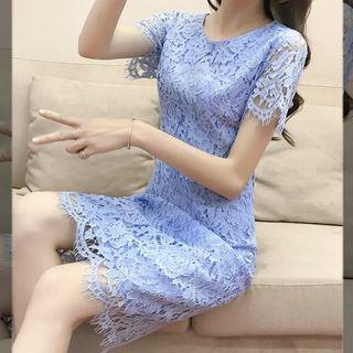 現貨水藍蕾絲洋裝