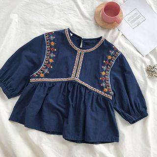 🚚 Embroidered lantern sleeve blouse / top in Blue