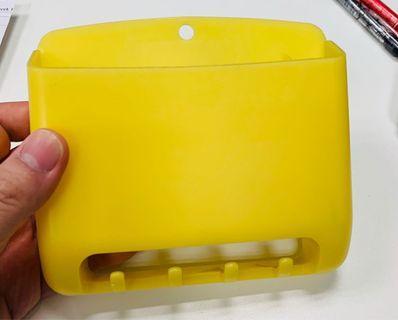 淡黃色膠雪櫃磁貼筆架連掛勾 (13x15x3cm)
