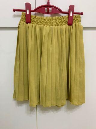 Queenshop 黃色百褶短裙 雪紡裙