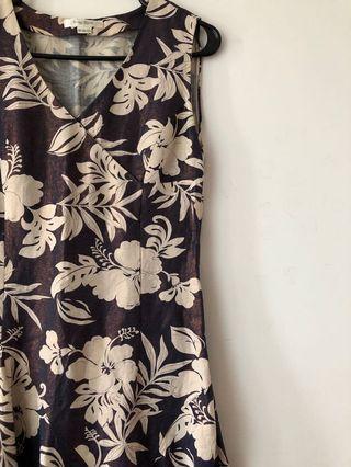 Vintage 90s tropical print long midi dress