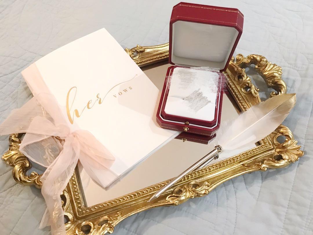 婚禮物資-金色鏡面托盤 (hold)
