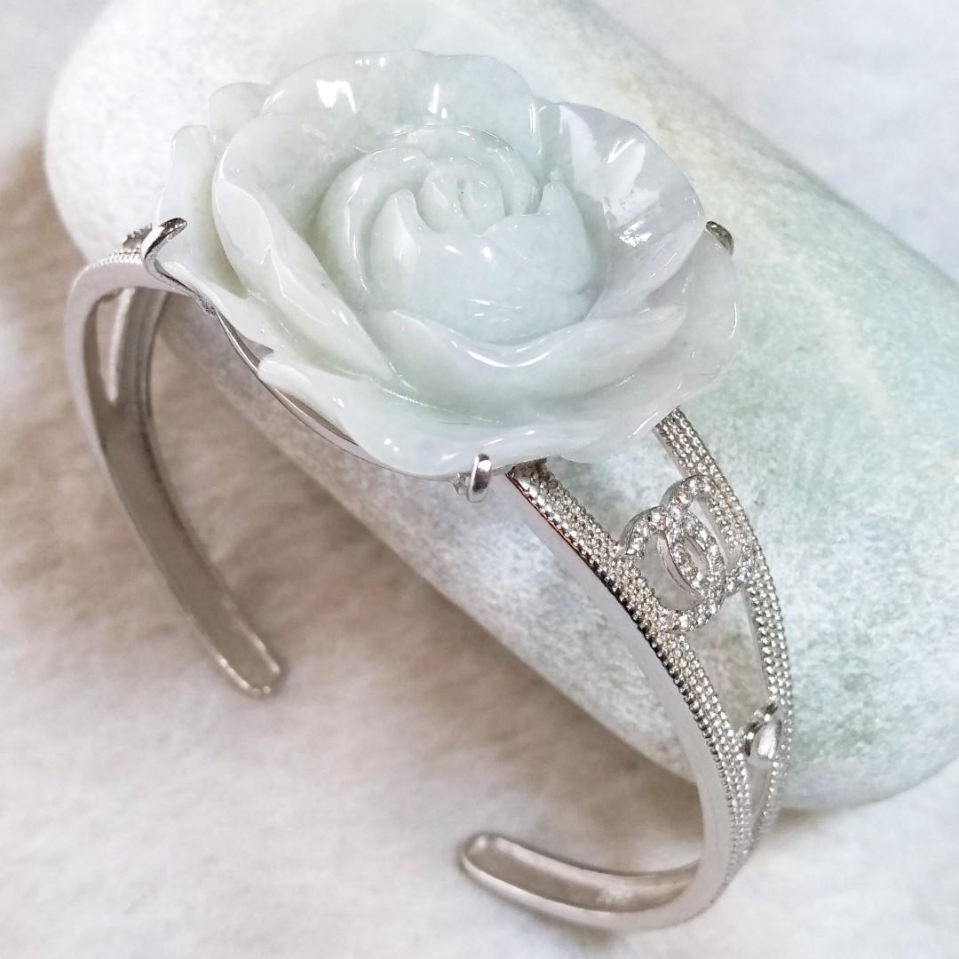 🌹花開富貴🌹天然緬甸玉A貨翡翠-淡紫底 精雕 玫瑰花 鑲925銀 手鐲 手鐲玉鐲手環
