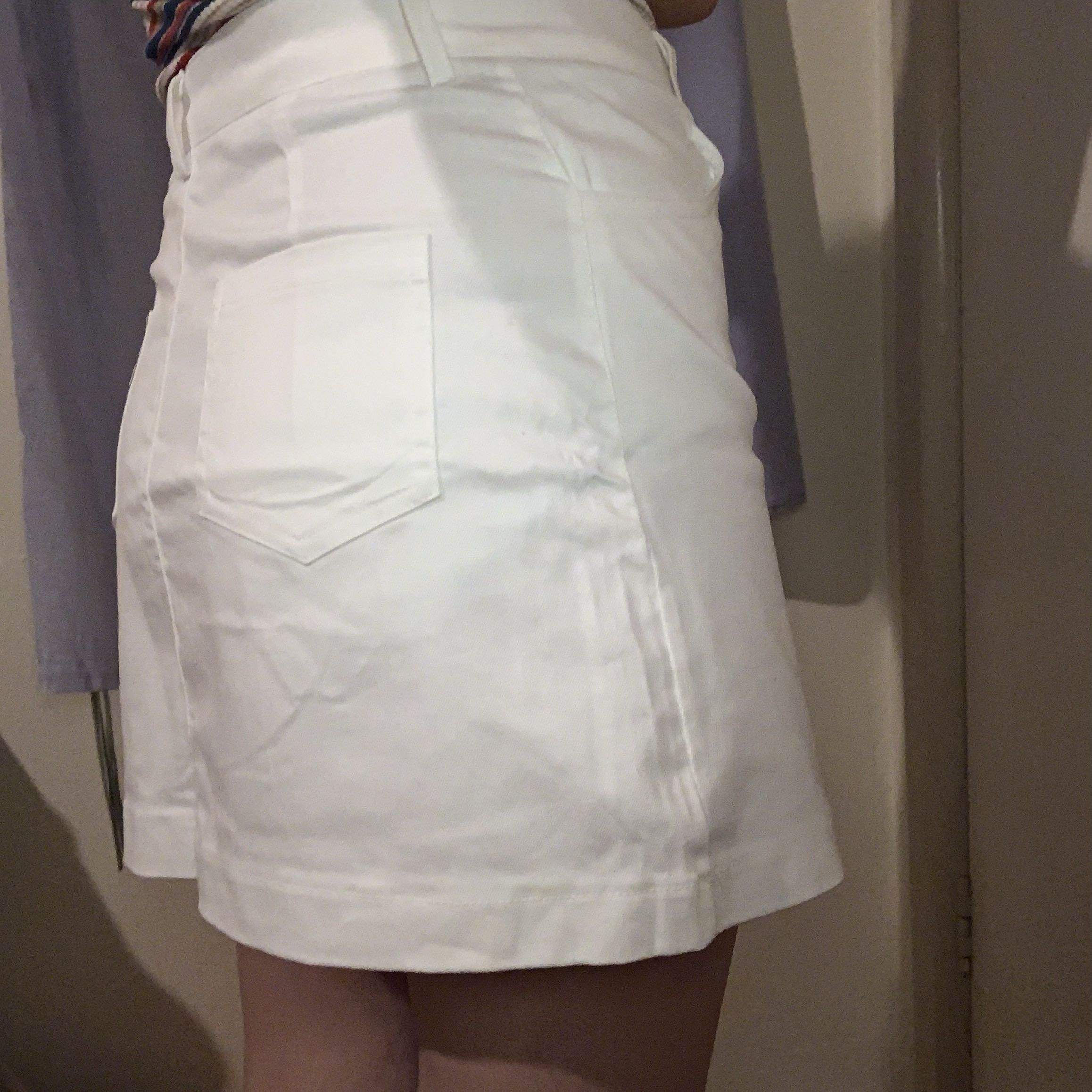 a-lime embroidered white skirt