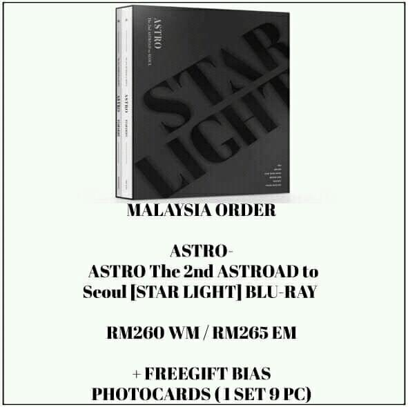 ASTRO - ASTRO The 2nd ASTROAD to Seoul [STAR LIGHT] BLU-RAY  - PREORDER/NORMAL ORDER/GROUP ORDER/GO + FREE GIFT BIAS PHOTOCARDS (1 ALBUM GET 1 SET PC, 1 SET HAS 9 PC)