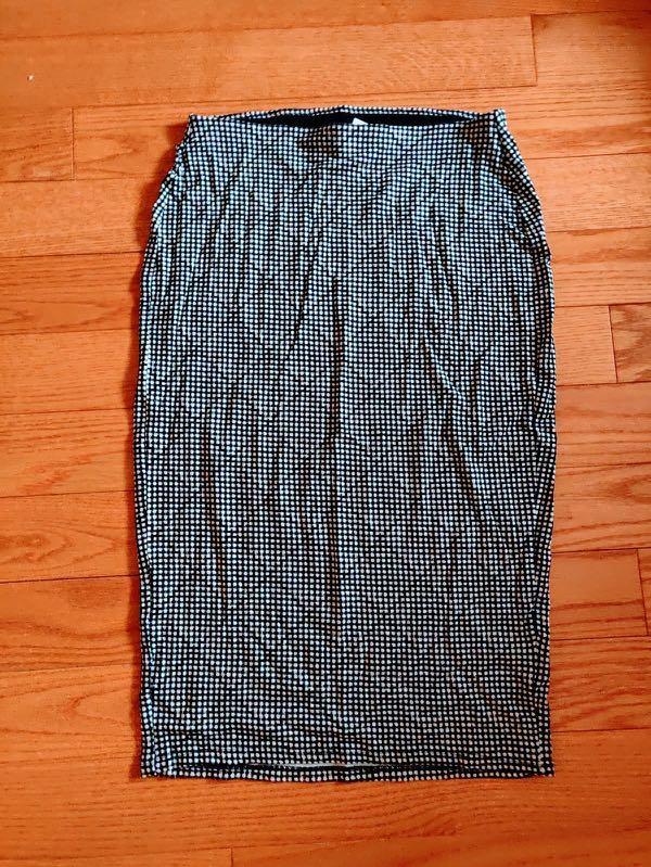 Black and White Small Checkered Printed Midi Skirt