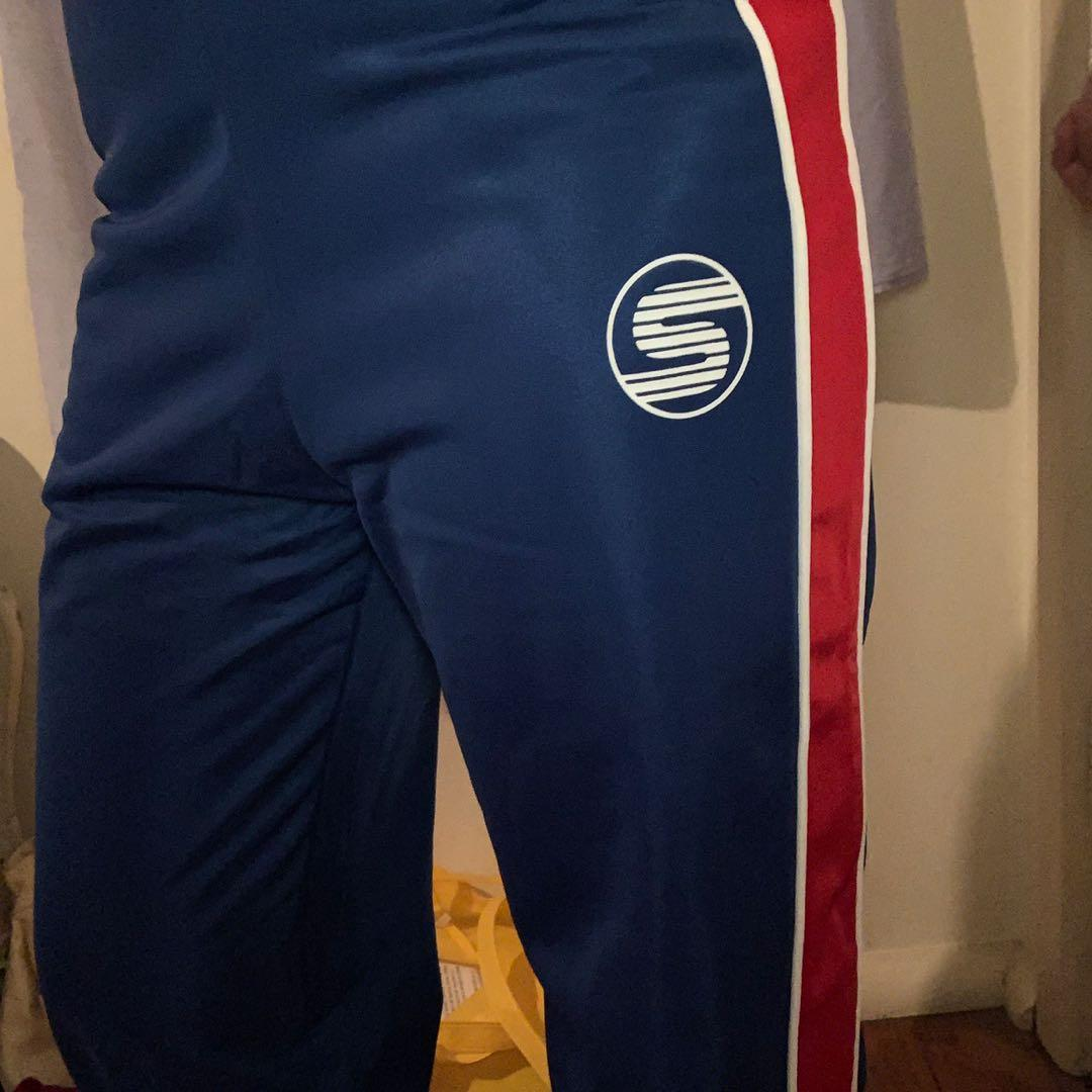 blue/red snap pants