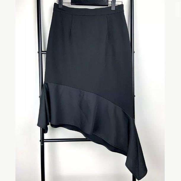Cooper St sz 10 black basic asymmetrical midi skirt flowy work career casual