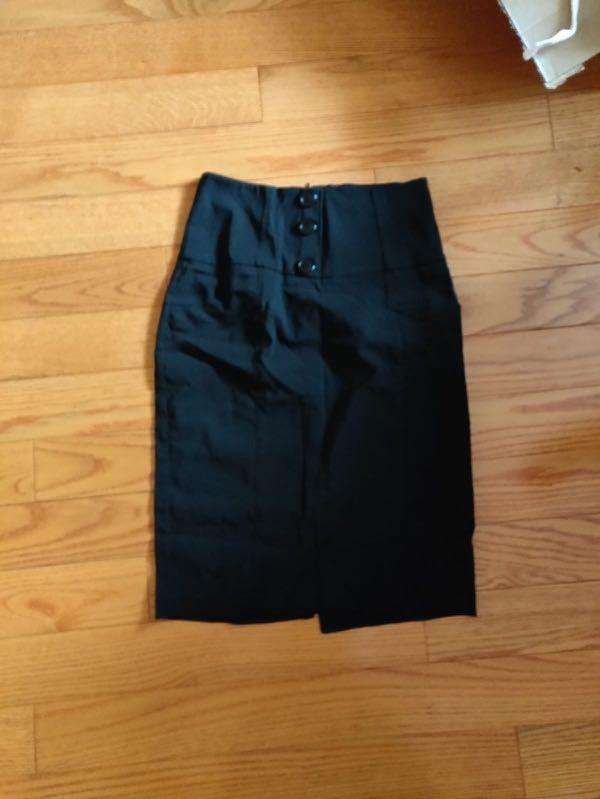 COSTA BLANCA Black Pencil Skirt with Button Detail