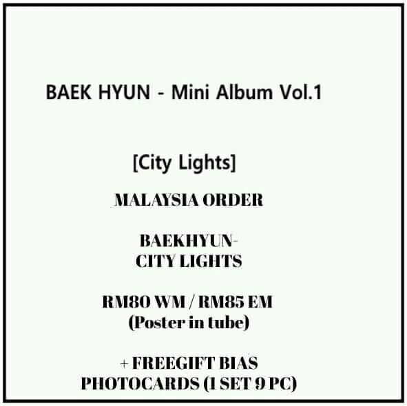 EXO BAEKHYUN - City Lights - PREORDER/READY STOCK + FREE GIFT BIAS PHOTOCARDS