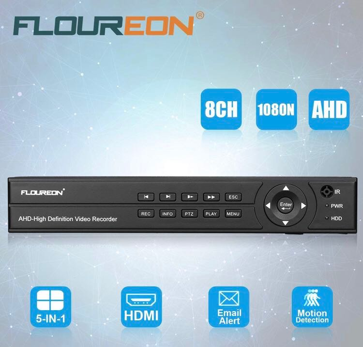 FLOUREON 8CH AHD DVR 1080N H 264 CCTV Security Digital Video Recorder PAL  Video Output Support TVI/CV/AHD/Analog Camera/Motion Detection Email