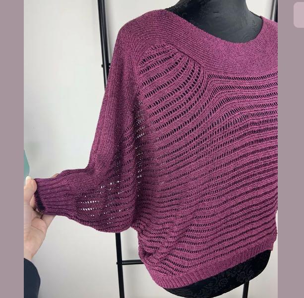 Guess sz XS purple open knit top shirt blouse jumper sweater winter glitter