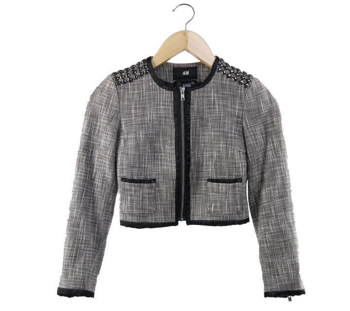 H&M Grey tweed cropped stud jacket ukuran XS