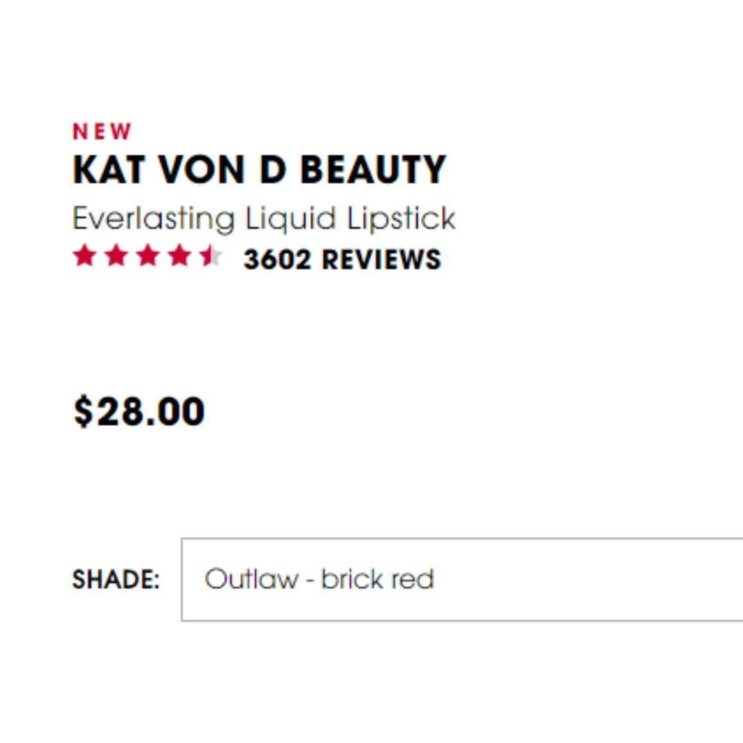 Kat Von D Outlaw Brick Red Everlasting Lipstick