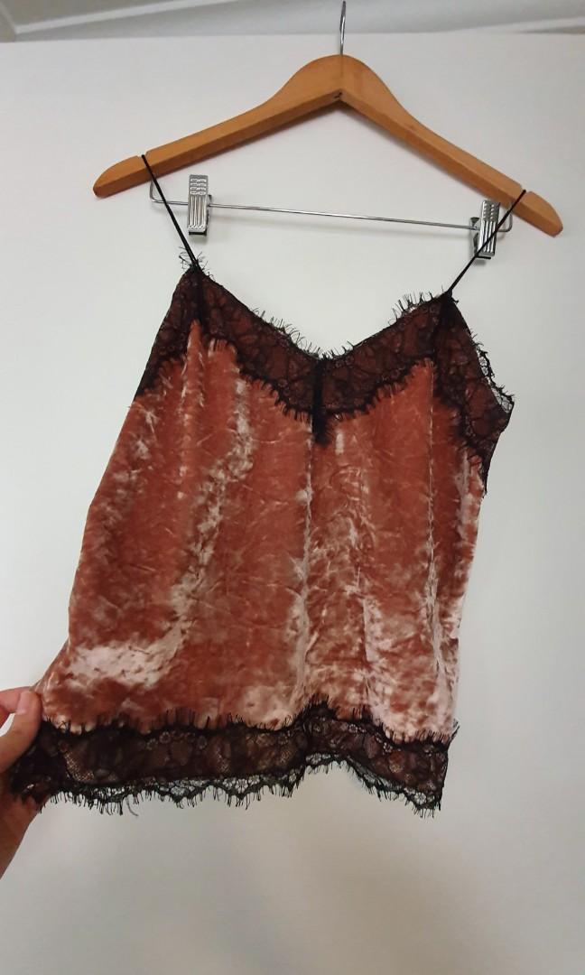 New pink crushed velvet cami singlet by Bershka - Sz S