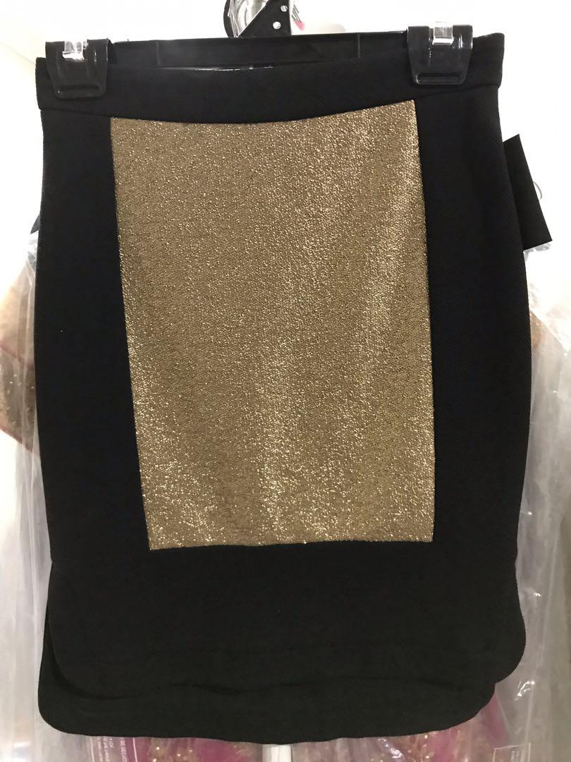 Nicola Finetti bodycon Gold Block Step Up skirt AU8