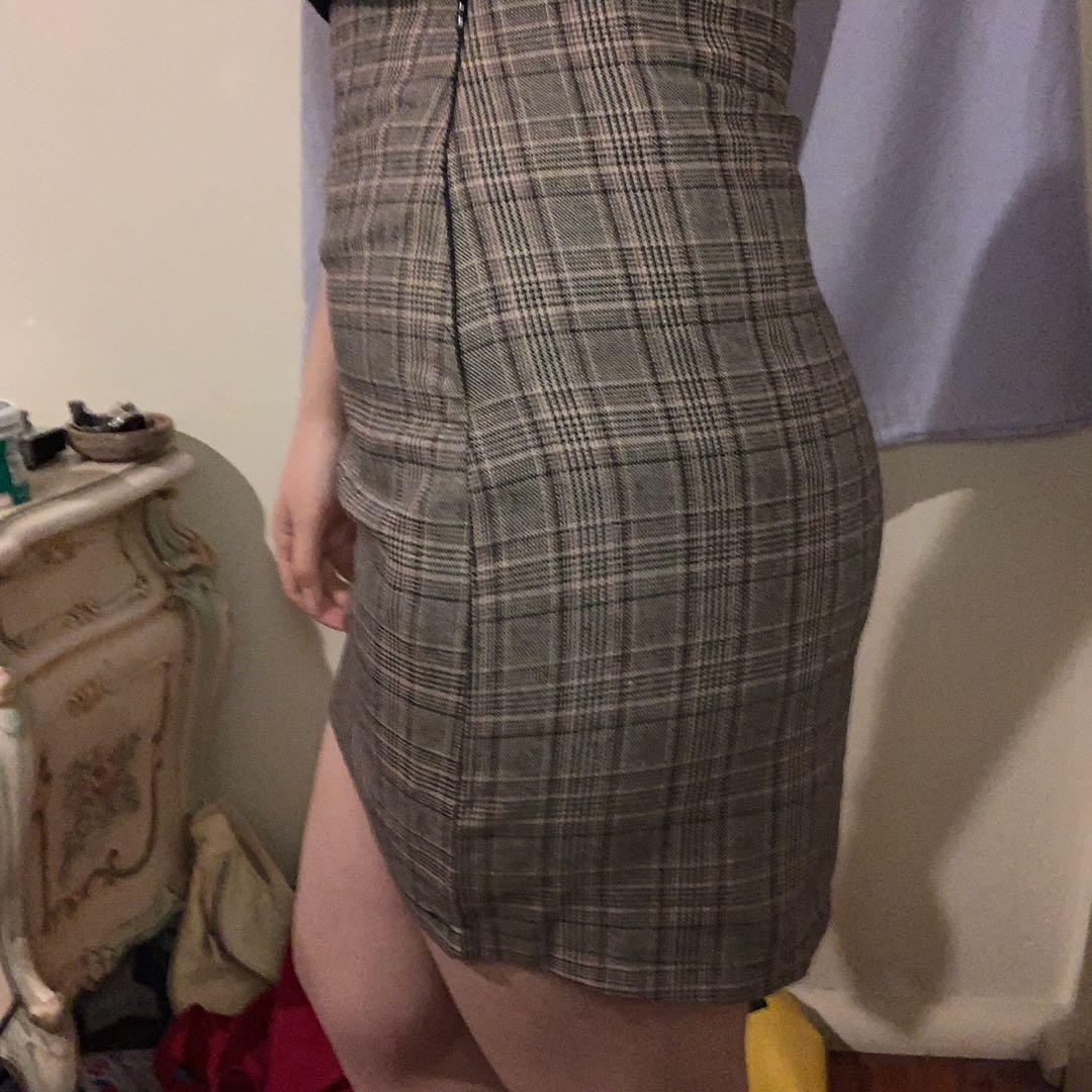 plaid brown miniskirt