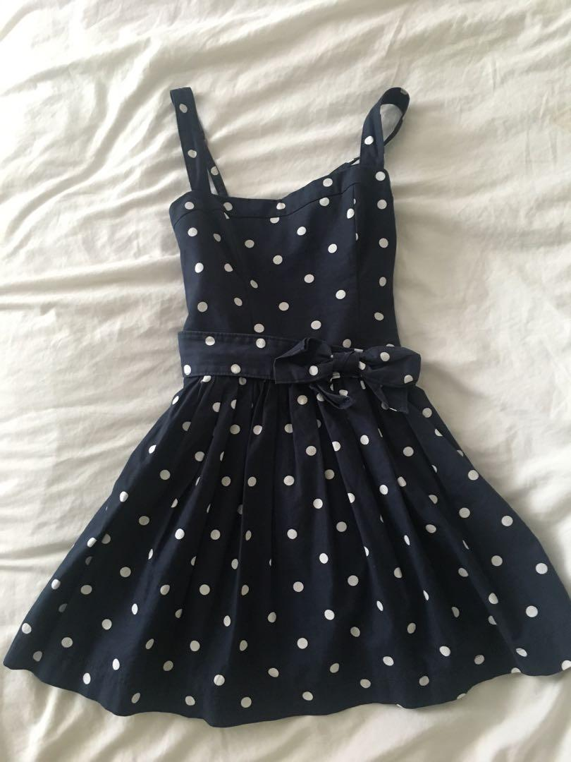 Polka dot navy blue and white dress from abercrombie