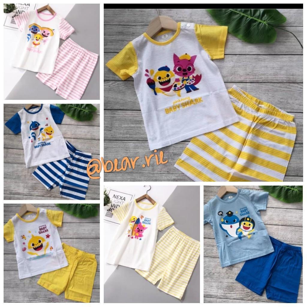 Cute Baby Shark Kids Girls Pyjamas Nightwear T Shirt Shorts Pjs Set Beach Wear