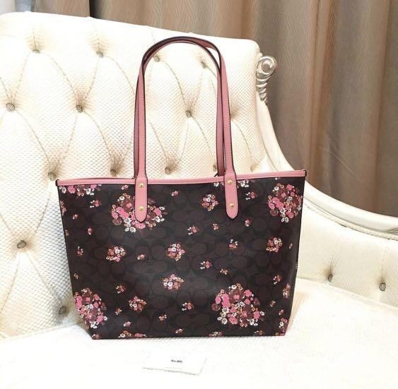 Reversible Tote Bag with Medley Bouquet Print (Preorder)