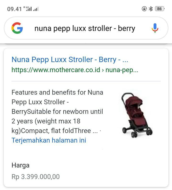 Stroller Nuna Pepp Luxx Berry With Armbar Jual Cepat
