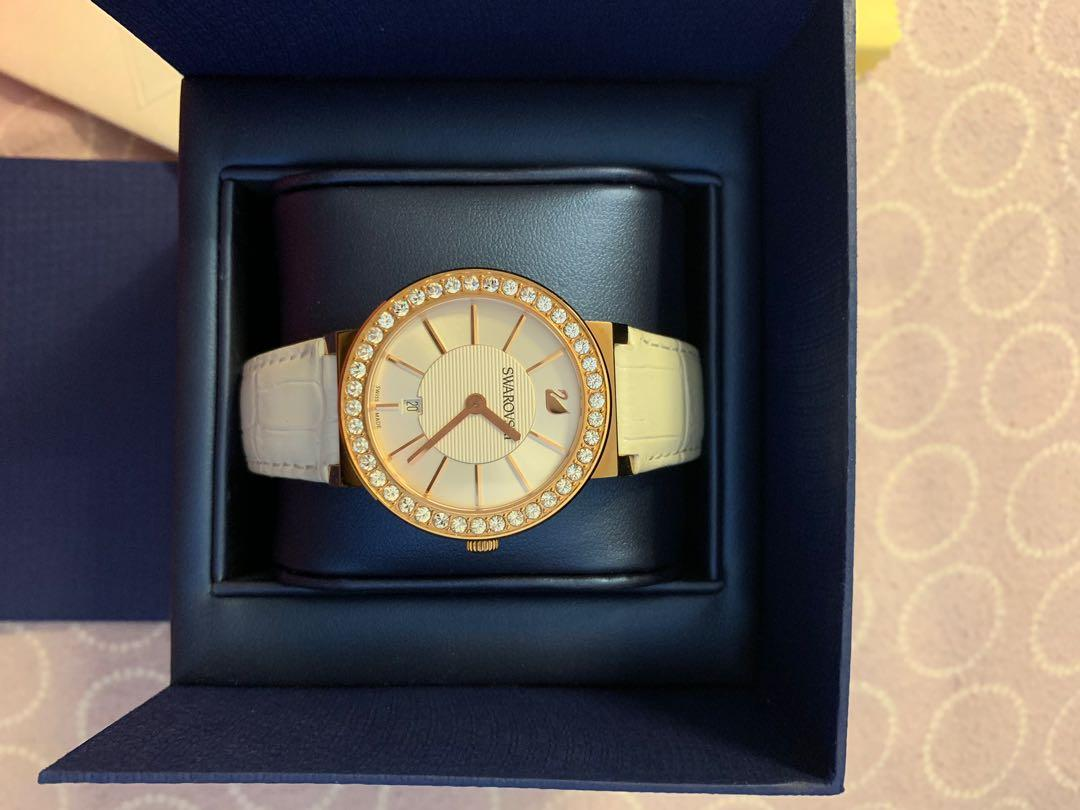 Swarovski Rose Gold Watch Citra Sphere White Genuine Leather Band