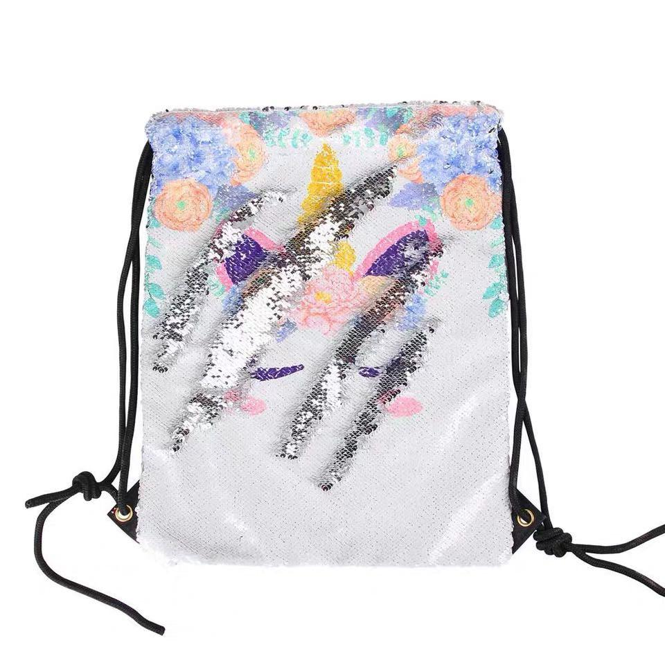 Ready stock - 🦄Unicorn Print In Sequins Pattern Drawstring Girls Backpack