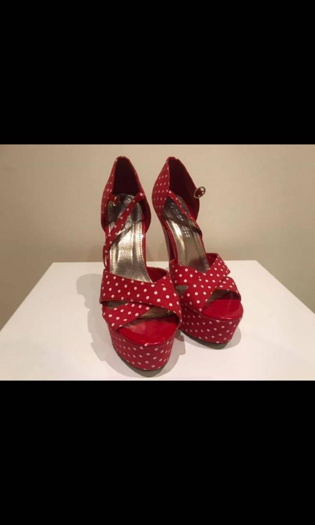 Vintage red with white polka dots pin up style heels