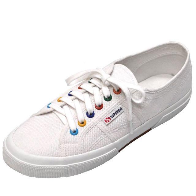 White superga with rainbow rivets
