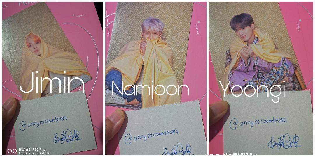 [WTS] BTS MAP OF THE SOUL PERSONA POSTCARDS AND PHOTOCARDS